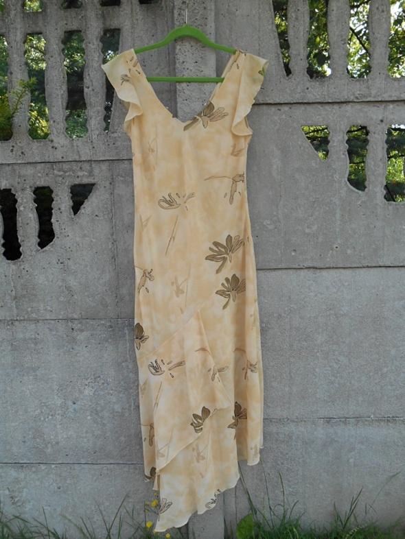 Suknie i sukienki Brzoskwiniowa Sukienka L XL xxl długa i zwiewna