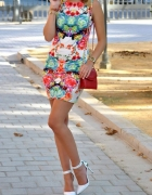 Kolorowa sukienka H&M Sheinside lato tuba dopasowa