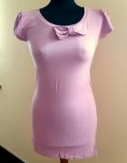 Tunika z kokardą brudny róż bufki mini sukienka M...