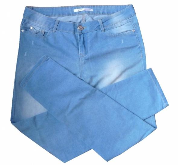 Sinsay jeansowe spodnie rurki przecierane XL...