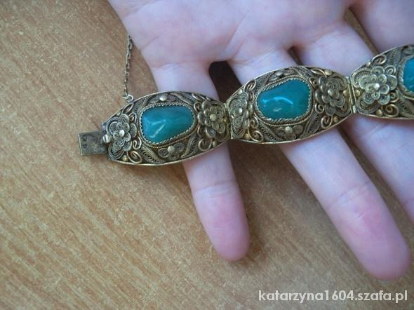 srebro złoto filigranowa bransoleta