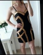 Lipsy sukienka czarna mini dopasowana że złotym ML