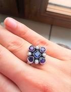 Pierścionek pr 925 szfiry ametyst perły