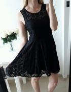 Glamorous sukienka koronkowa czarna rozkloszowana L