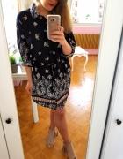 Czarna sukienka kwiaty XL 42