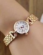 Elegancki zegarek cienka złota bransoleta perłowa