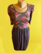 sukienka w kwiaty typu bombka z bufkami 3 4 rekaw