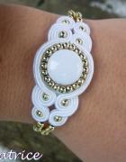 Bracelet white gold wedding soutache
