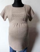 Beżowy ciepły sweter tunika ciążowa mama r S