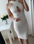 Missguided sukienka biała midi dopasowana M