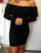 Sukienka CZARNA Hiszpanka z falbanka długi rękaw