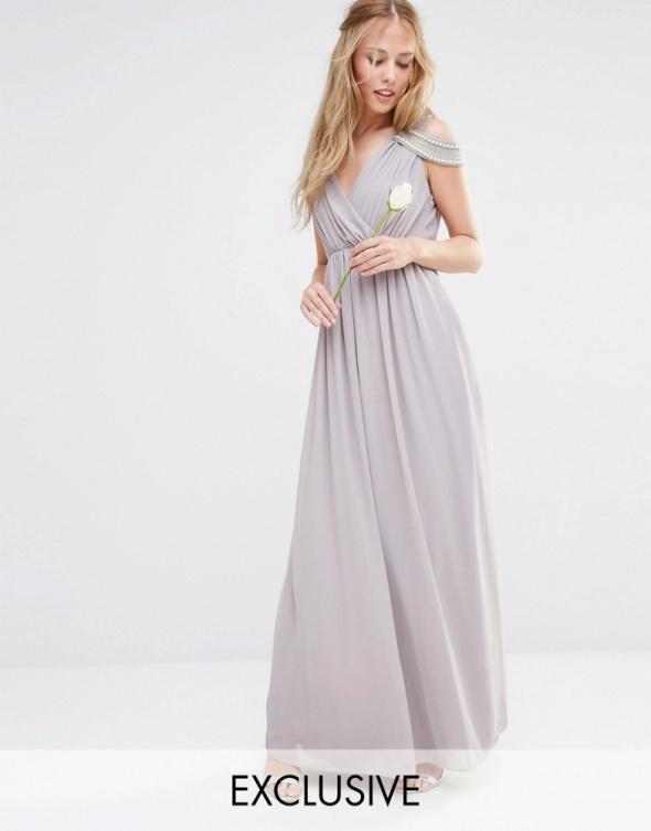 f9f9c624ee Asos maxi grecka liliowa perełki odkryte ramiona w Suknie i sukienki ...