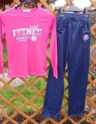 Nowy dres dziewczęcy różowo granatowy