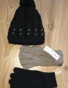 Nowy komplet czapka i rękawiczki czarne i beżowe