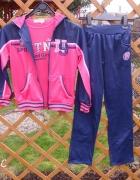 Nowy trzy częściowy dres dla dziewczynki granatowo