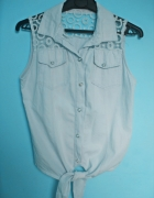 Kamizelka jeansowa jasna wiązana