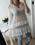 Koszula tunika biała mgiełka falbanki L