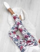 Spodnie Damskie w kwiaty dresowe M