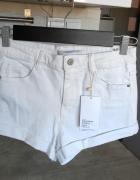 Zara nowe białe szorty spodenki jeansowe jeans high waist wysok...