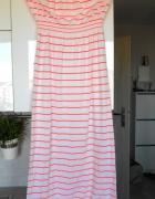 Ocean Club maxi sukienka paski neon neonowa tuba...