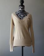 Idealny świecący beżowy sweterek M...
