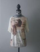 Idealna biała bluzka z rysunkiem...