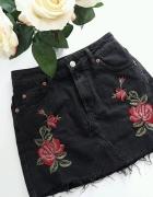 Topshop spódniczka czarna mini dżinsowa kwiaty Xs