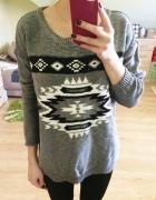 Sweter szary oversize S M L aztec