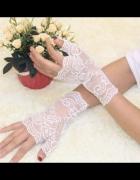 Rękawiczki Ślubne haft kwiaty BIAŁE NOWE
