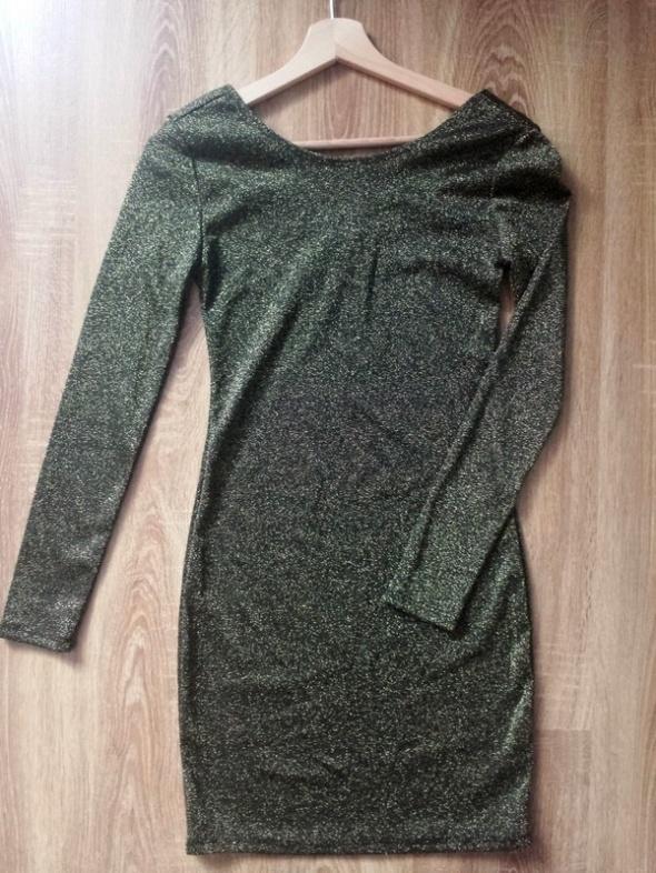 brokatowa sukienka dopasowana złota nowa