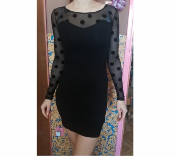 H&M sukienka mała czarna koktajlowa sexy siateczka