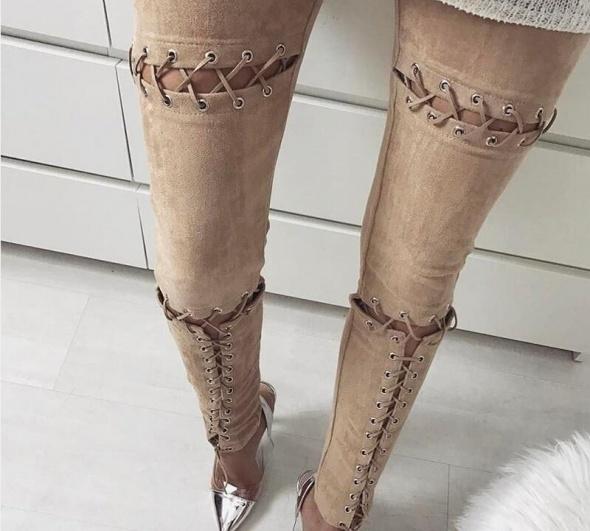 zamszowe tregginsy spodnie zamsz wiązane zawiązywane rurki bondage