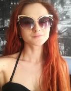Kocie okulary przeciwsłoneczne złote nowe