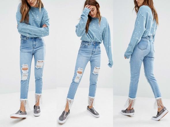 LIQUOR & POKER jeansy zdobione ZARA spodnie ASOS h&m 32 XXS