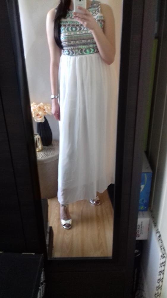 Suknia maxi koronka długa suknia szyfon cekiny