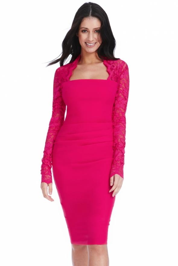 d92209a245 Elegancka wyszczuplająca sukienka midi fuksja w Suknie i sukienki ...