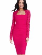 Elegancka wyszczuplająca sukienka midi fuksja...