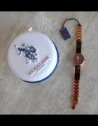 US Polo Assn nowy zegarek złoty brązowy szylkret oryginalny...