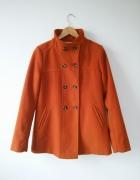 wiosenny pomarańczowy dwurzędowy krótki płaszcz Camaieu 38 M...