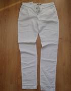 Białe spodnie przewiewne zwiewne len bawełna S