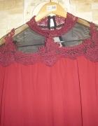Nowa elegancka z siateczką i koronką bordowa