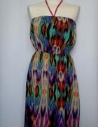 Śliczna asymetryczna sukienka we wzory Ocean Club...