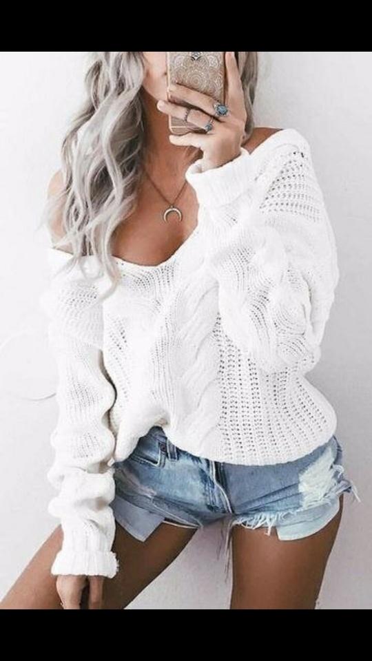 Codzienne Biały sweterek