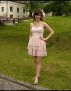 sukienka koktaljowa balerina pudrowy róż nude