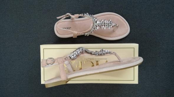 Sandały sandałki paskie z kryształkami diamentami Vices pudrowy róż36 38 39 41