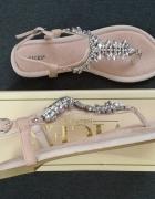 Sandały sandałki paskie z kryształkami diamentami Vices pudrowy...