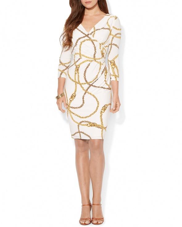 Suknie i sukienki elegancka sukienka z motywem lancuchow