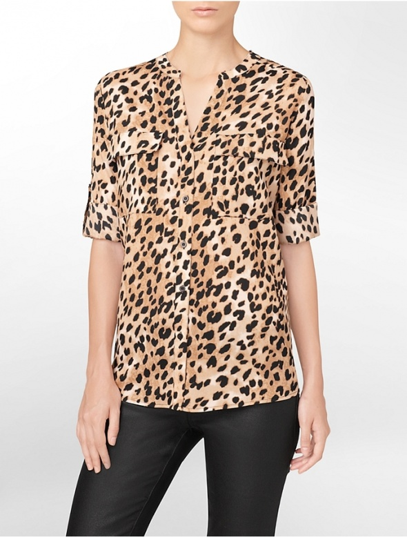 Koszule elegancka bluzka w panterke