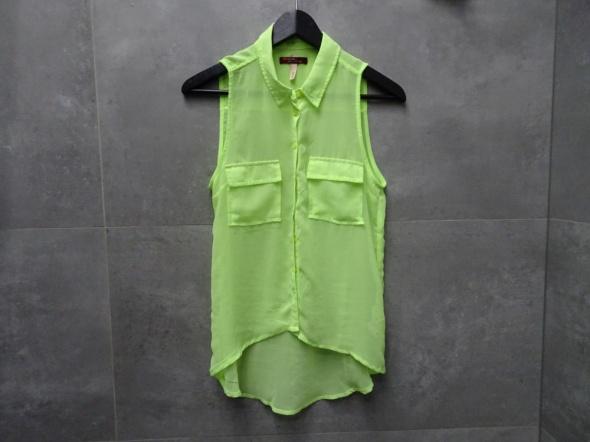 Luźna koszula limonka neon mgiełka asymetryczna dłuższy tył