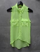 Luźna koszula limonka neon mgiełka asymetryczna dłuższy tył...